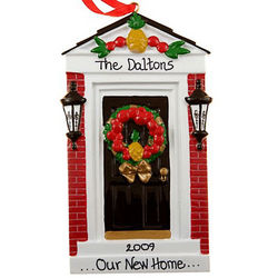 New Home Ornament with Elegant Black Front Door
