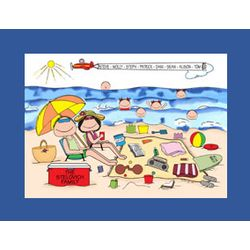 Personalized Beach Family Cartoon