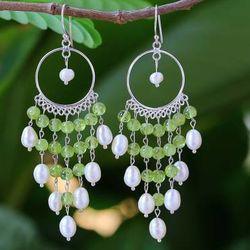 'Peridot Ruffles' Pearl Chandelier Earrings