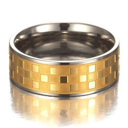 Men's Titanium Promise Ring with Gold Inlay
