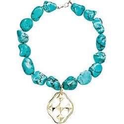 Shield Cross Pendant on Turquoise Necklace