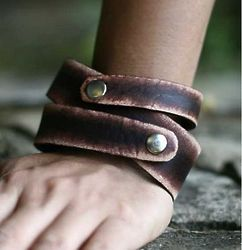 Men's Strong Coffee Leather Wrap Bracelet