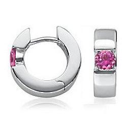 Pink Tourmaline Hinged Hoop Earrings in Sterling Silver