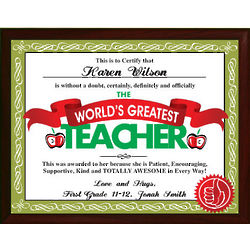 World's Greatest Teacher Personalized Printed Plaque