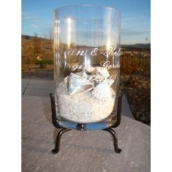Engraved Recycled Cylinder Centerpiece with Stand