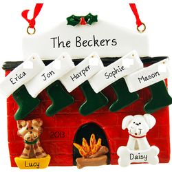 Personalized Fireplace 5 Stockings plus Cat & Dog Ornament