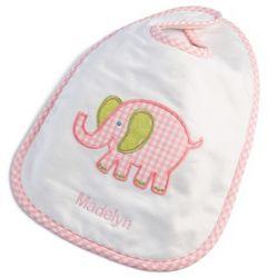 Pink Elephant Large Bib