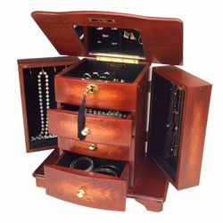 Belinda Musical Wooden Jewelry Box in Walnut Finish