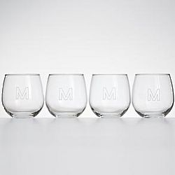Monogrammed Stemless Red Wine Glass Set