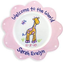 Giraffe Baby Girl Ceramic Plate