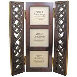 Celtic Triple Photo Frame with Wood Carved Doors