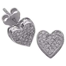 Sterling Silver Heart Cubic Zirconia Studded Earrings