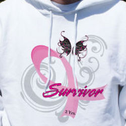 Hope Ribbon Breast Cancer Survivor Hooded Sweatshirt