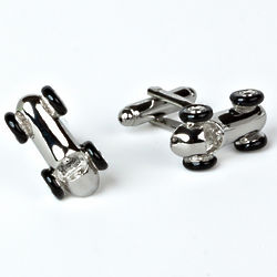 Race Car Rhodium Plated Cuff Links with Engraved Box