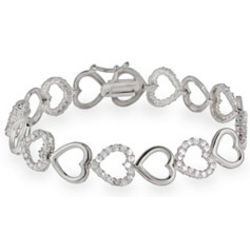 Cubic Zirconia and Silver Hearts Bracelet