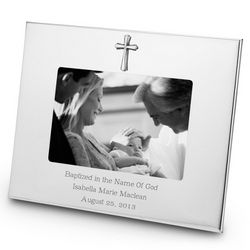 Pewter Cross Wide Border Landscape Personalized Picture Frame