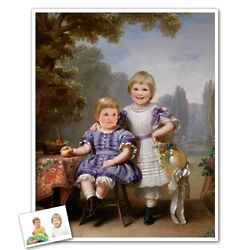Classic Painting Little Sisters in Park Personalized Art Print