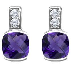 Checkerboard Amethyst & Diamond Earrings
