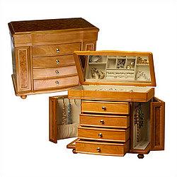 Burlwood Oak Jewelry Box