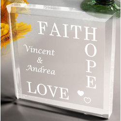 Personalized Faith, Hope, Love Paperweight
