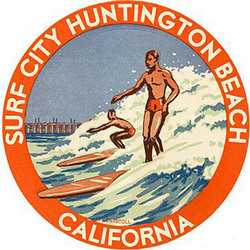 Personalized Vintage Surfing Art Round Wooden Plaque