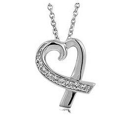 CZ Accent Open Heart Pendant Necklace