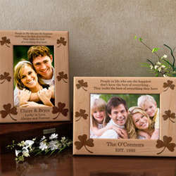Personalized Shamrock Wooden Picture Frame