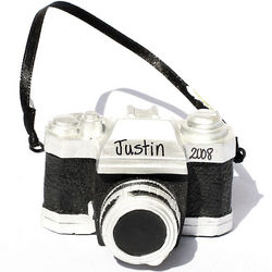 Personalized Black Zoom Lens Camera Ornament