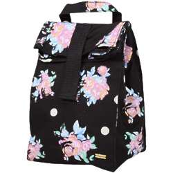 Black and Pink Flowers Recess Lunch Bag