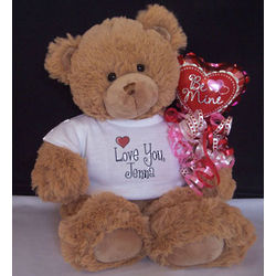 Love You Personalized T-Shirt Teddy Bear with Valentine Balloon