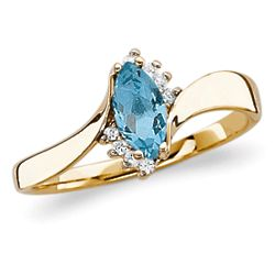 Marquise Blue Topaz Ring with Cubic Zirconia Accents