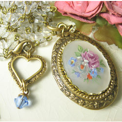 Long Bouquet Cameo Locket Necklace