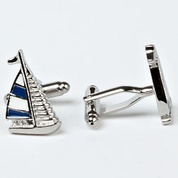 Rhodium Plated Sailboat Cuff Links with Engraved Box