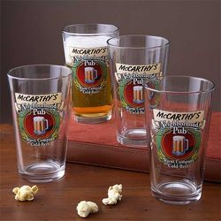 Personalized Neighborhood Pub Pint Glasses Set