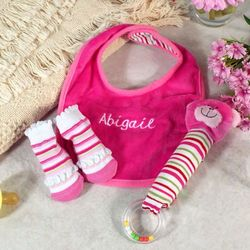 Embroidered Pink Stripes Bib Set