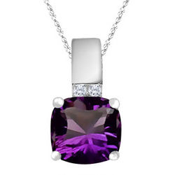 Optix Cut Amethyst & Diamond Pendant Necklace in White Gold