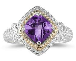 1.5ct Amethyst Ring in 14k Yellow Gold and Silver