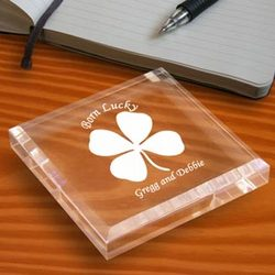 Personalized Lucky Four Leaf Clover Paperweight