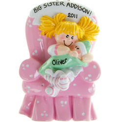 Blonde Big Sister in Chair Christmas Ornament