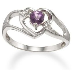 14K White Gold February Heart Birthstone Ring with Amethyst