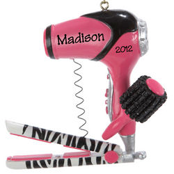 Personalized Pink Blow Dryer and Curling Iron Ornament