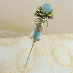 Exotique Bright Aqua Hat Pin