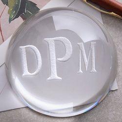 Monogram Crystal Prism Paperweight
