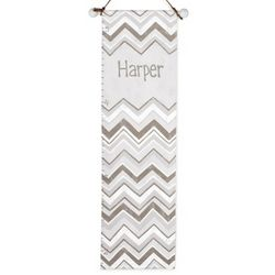 Gray Chevron Hand-Painted Growth Chart