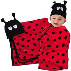 Ladybug Baby Swaddle Blanket and Hat Set