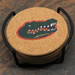 Florida Gators Cork Coasters with Metal Holder
