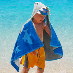Embroidered Shark Hooded Beach Towel