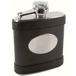 Personalized 2.5 oz. Black Leather Flask