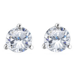 1/4 Ct Round White Diamond Stud Earrings in 18K White Gold