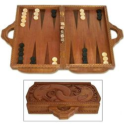 'Dolphin Guard' Wood Backgammon Set
